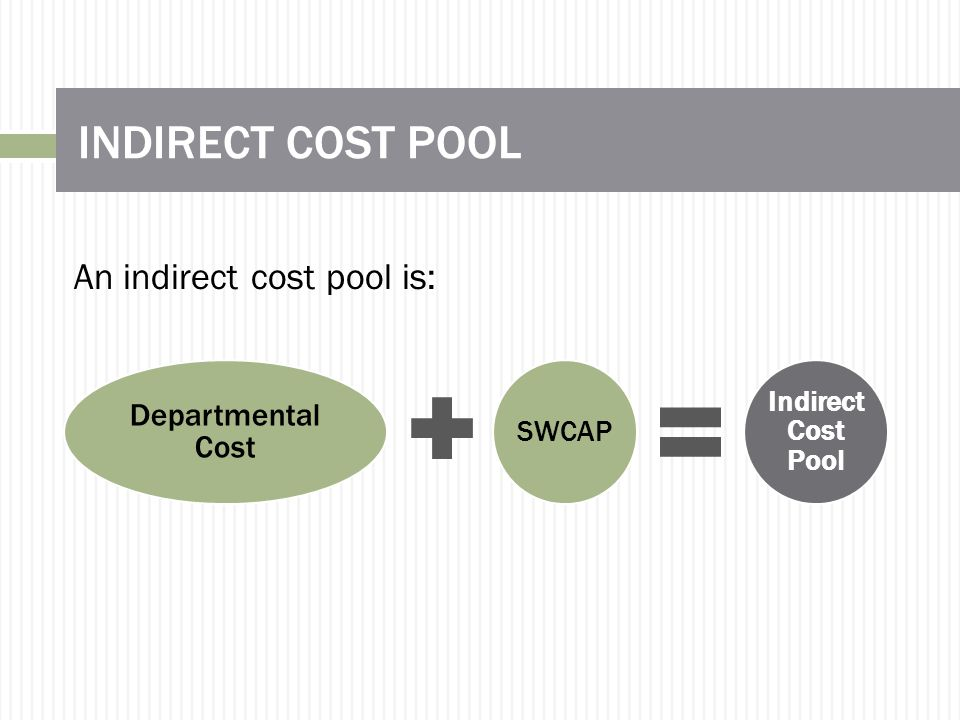 INDIRECT COST POOL Departmental Cost SWCAP Indirect Cost Pool An indirect cost pool is: