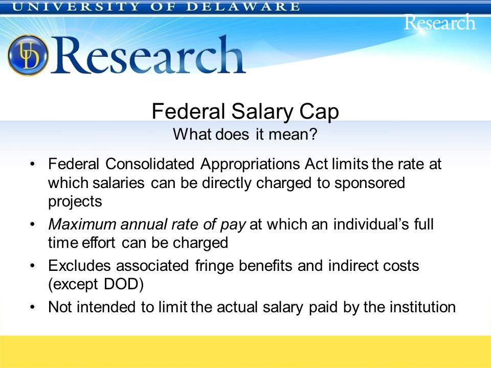 Federal Salary Cap What does it mean.