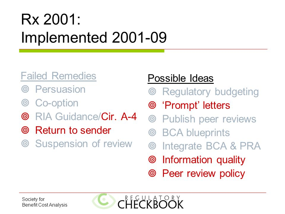 Society for Benefit Cost Analysis Rx 2001: Implemented 2001-09 Failed Remedies  Persuasion  Co-option  RIA Guidance/Cir. A-4  Return to sender  S