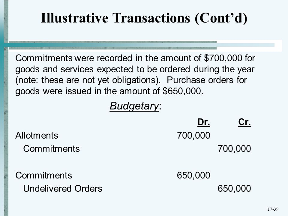 Commitments were recorded in the amount of $700,000 for goods and services expected to be ordered during the year (note: these are not yet obligations).
