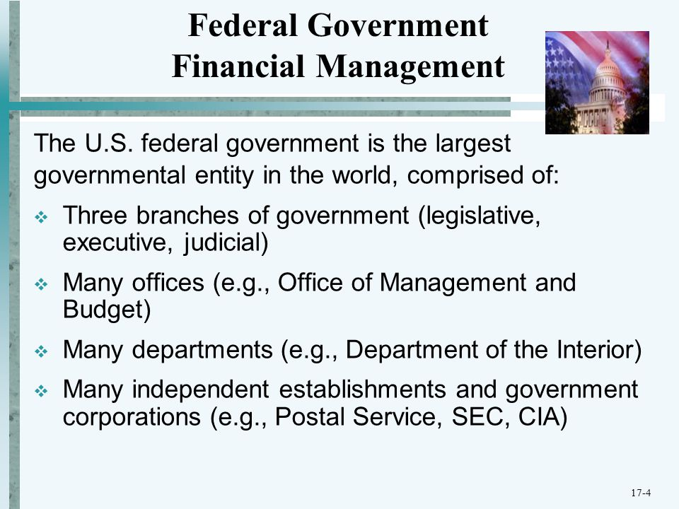 Several acts of Congress affect federal government financial management, for example:  Budget and Accounting Procedures Act of 1950  Federal Managers Fiscal and Integrity Act (FMFIA) of 1982  Chief Financial Officers Act (CFO) of 1990  Government Performance and Results Act (GPRA) of 1993  Government Management Reform Act (GMRA) of 1994  Federal Financial Management Improvement Act (FFMIA) of 1996  Reports Consolidation Act of 2000  Accountability of Tax Dollars Act (ATDA) of 2002 Federal Government Financial Management 17-5
