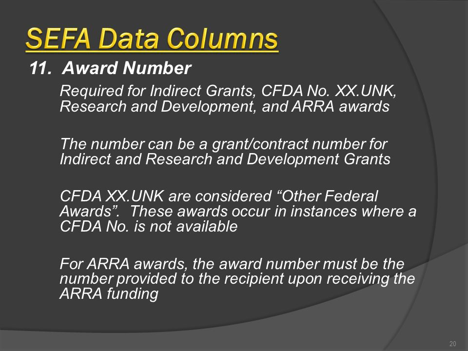 11. Award Number Required for Indirect Grants, CFDA No.