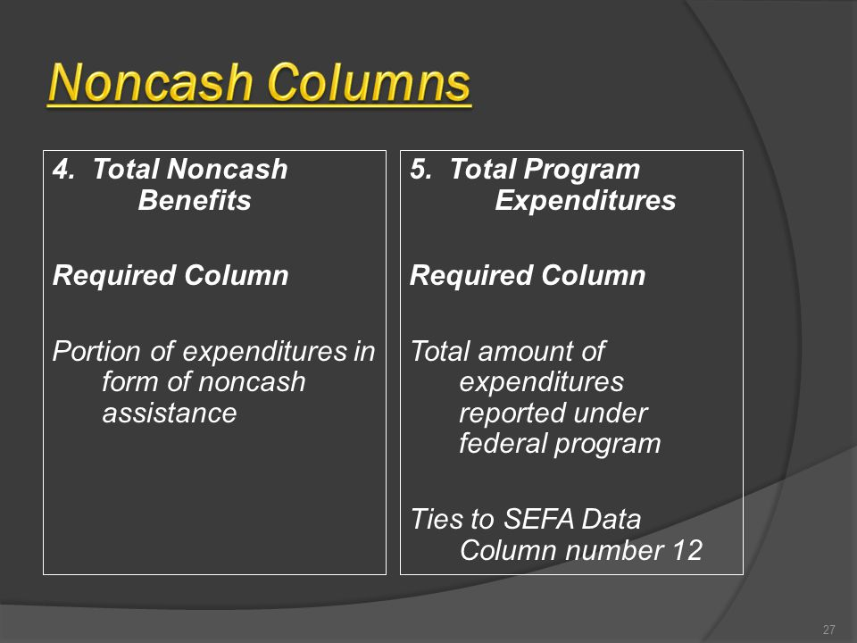 4. Total Noncash Benefits Required Column Portion of expenditures in form of noncash assistance 5. Total Program Expenditures Required Column Total am