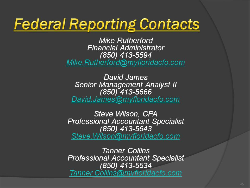 Mike Rutherford Financial Administrator (850) 413-5594 Mike.Rutherford@myfloridacfo.com David James Senior Management Analyst II (850) 413-5666 David.James@myfloridacfo.com Steve Wilson, CPA Professional Accountant Specialist (850) 413-5643 Steve.Wilson@myfloridacfo.com Tanner Collins Professional Accountant Specialist (850) 413-5534 Tanner.Collins@myfloridacfo.com 45
