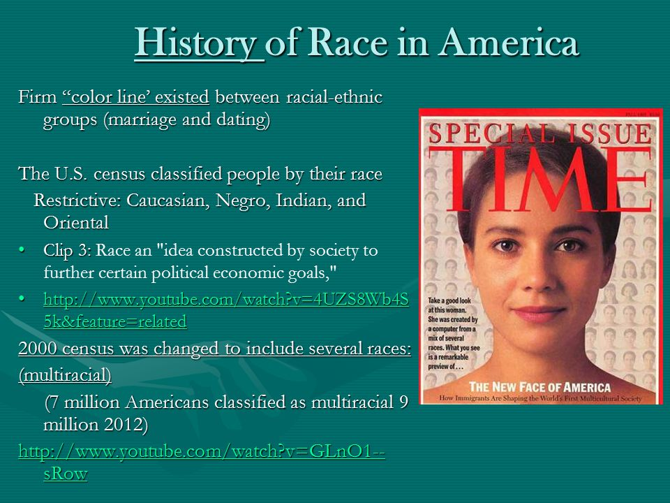 History of Race in America History of Race in America Firm color line' existed between racial-ethnic groups (marriage and dating) The U.S.