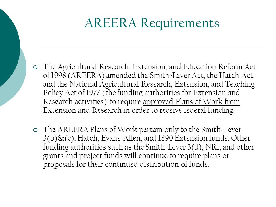 AREERA Requirements  The Agricultural Research, Extension, and Education Reform Act of 1998 (AREERA) amended the Smith-Lever Act, the Hatch Act, and the National Agricultural Research, Extension, and Teaching Policy Act of 1977 (the funding authorities for Extension and Research activities) to require approved Plans of Work from Extension and Research in order to receive federal funding.