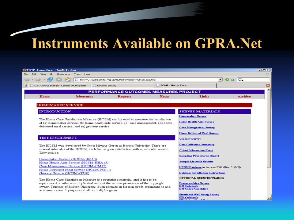 Instruments Available on GPRA.Net