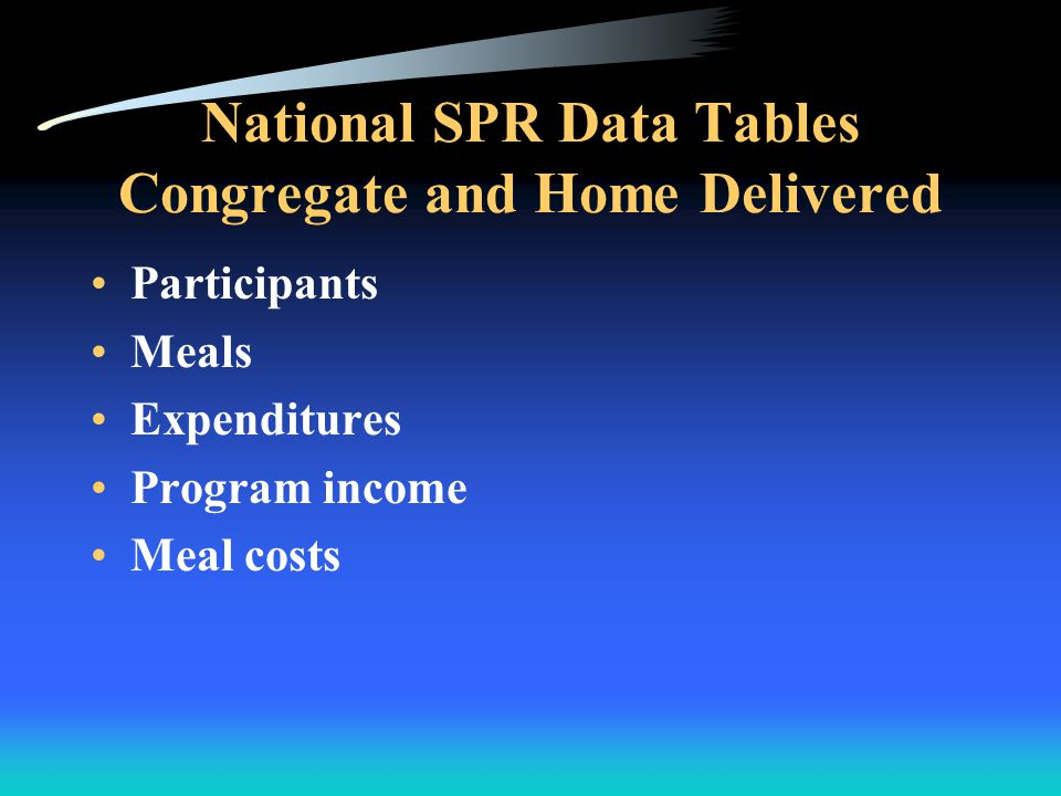National SPR Data Tables Congregate and Home Delivered Participants Meals Expenditures Program income Meal costs