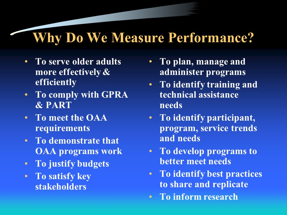 Why Do We Measure Performance.