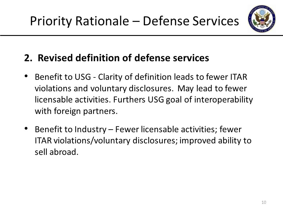 Priority Rationale – Defense Services 2.