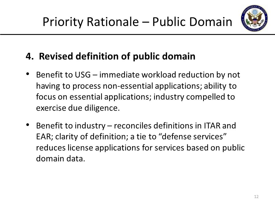 Priority Rationale – Public Domain 4.