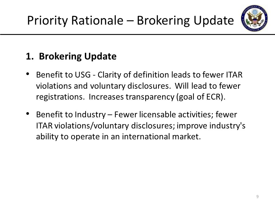 Priority Rationale – Brokering Update 1.