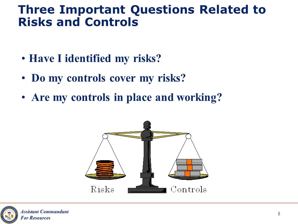 Assistant Commandant For Resources 8 Three Important Questions Related to Risks and Controls Have I identified my risks.