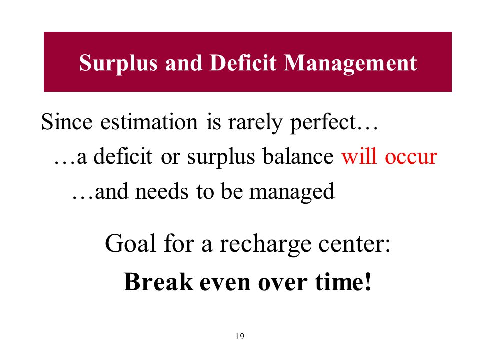 Since estimation is rarely perfect… …a deficit or surplus balance will occur …and needs to be managed Goal for a recharge center: Break even over time.