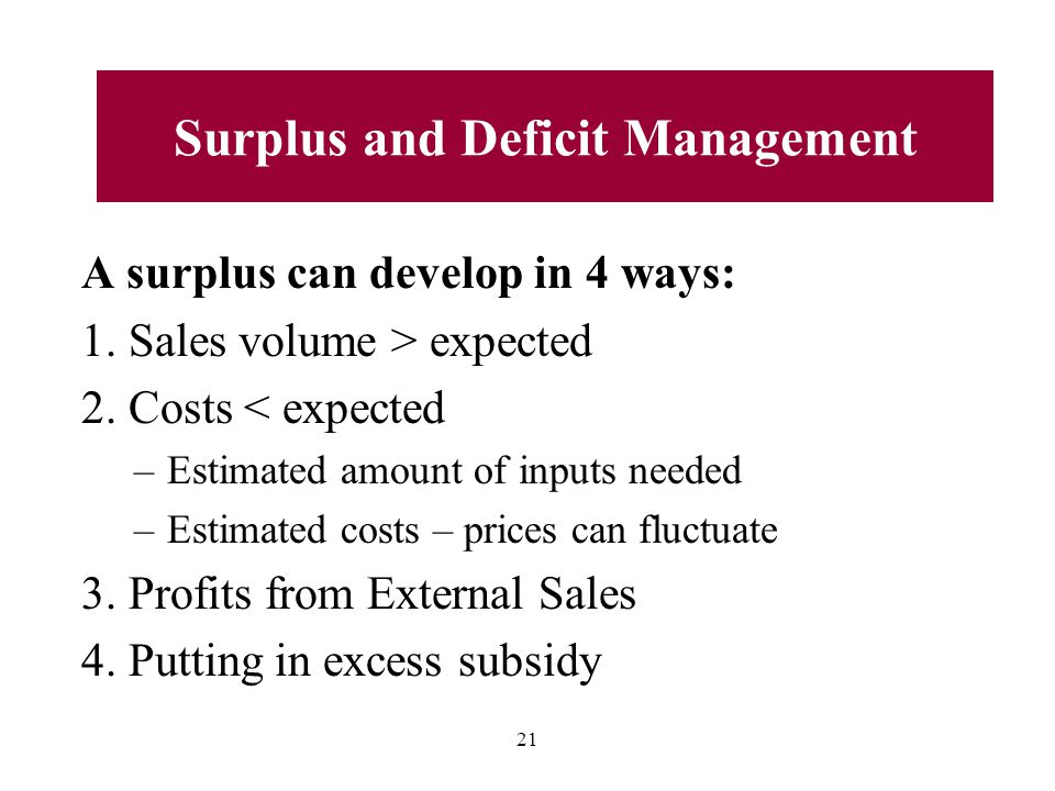 A surplus can develop in 4 ways: 1.Sales volume > expected 2.
