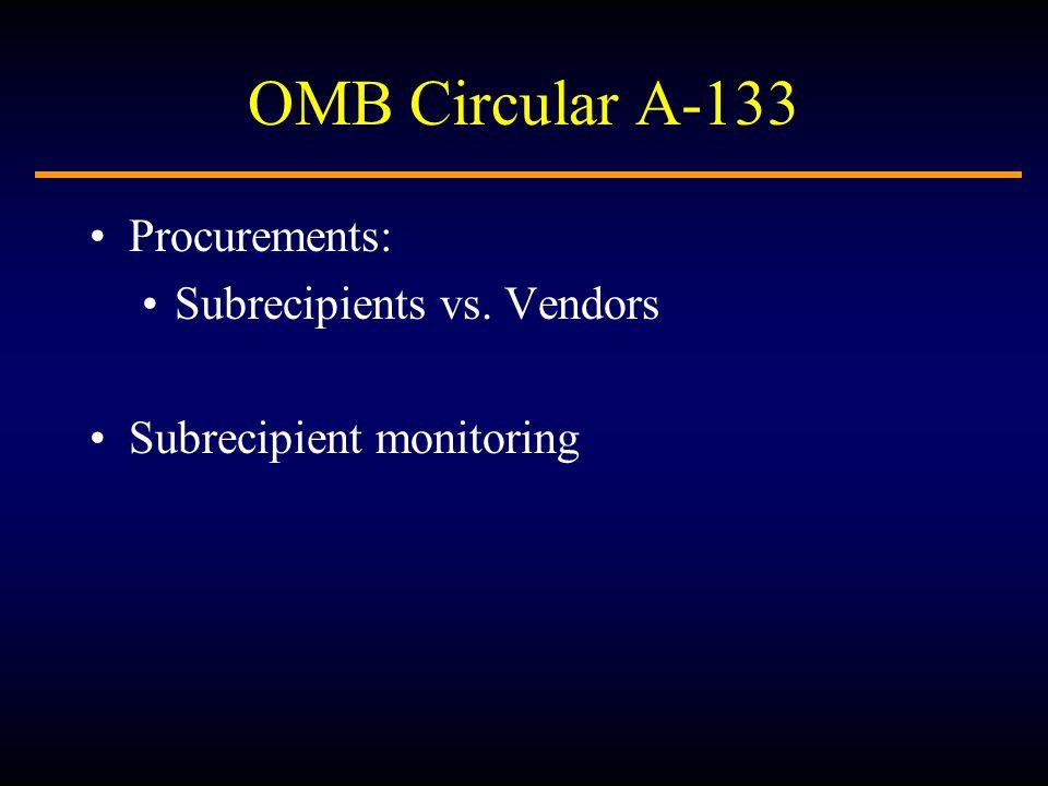 OMB Circular A-133 Procurements: Subrecipients vs. Vendors Subrecipient monitoring