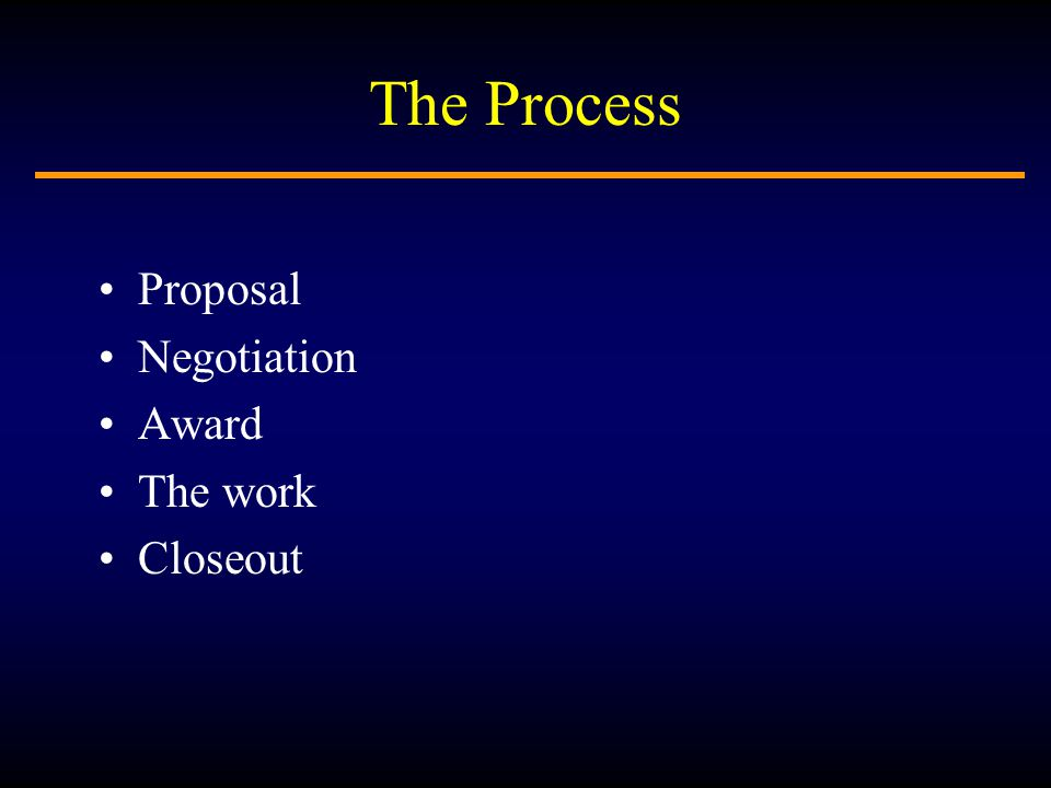 The Process Proposal Negotiation Award The work Closeout