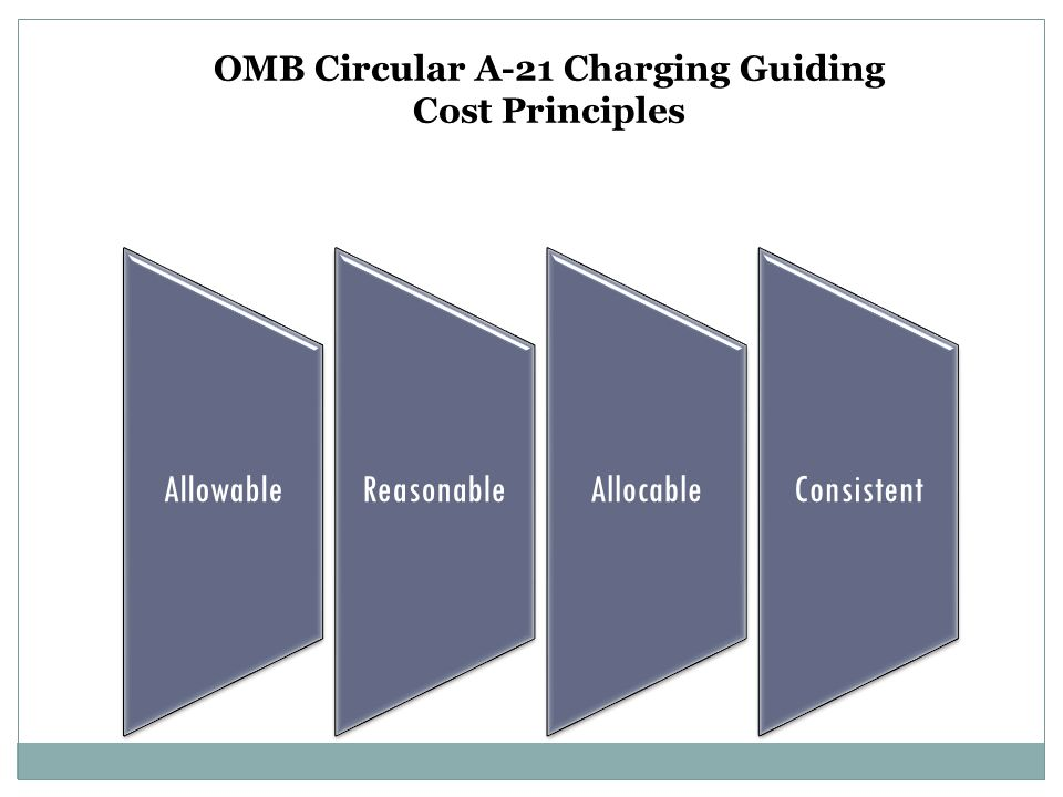 AllowableReasonableAllocableConsistent OMB Circular A-21 Charging Guiding Cost Principles