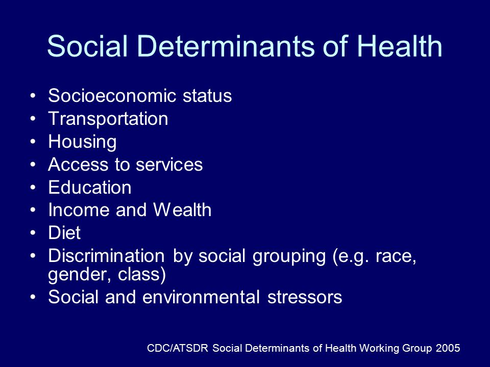 Social Determinants of Health Socioeconomic status Transportation Housing Access to services Education Income and Wealth Diet Discrimination by social grouping (e.g.