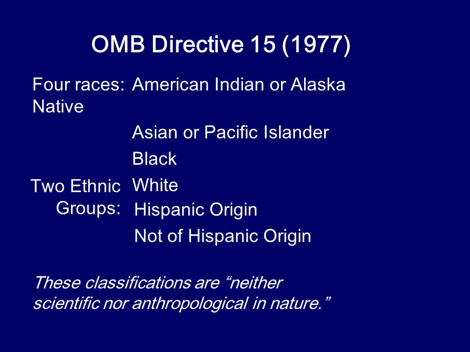 OMB Directive 15 (1977) Four races:American Indian or Alaska Native Asian or Pacific Islander Black White Two Ethnic Groups: Hispanic Origin Not of Hispanic Origin These classifications are neither scientific nor anthropological in nature.