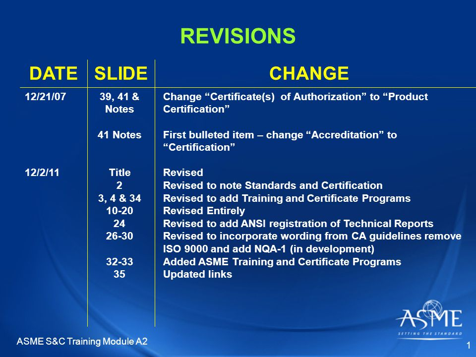 REVISIONS CHANGESLIDEDATE Change Certificate(s) of Authorization to Product Certification First bulleted item – change Accreditation to Certification Revised Revised to note Standards and Certification Revised to add Training and Certificate Programs Revised Entirely Revised to add ANSI registration of Technical Reports Revised to incorporate wording from CA guidelines remove ISO 9000 and add NQA-1 (in development) Added ASME Training and Certificate Programs Updated links 39, 41 & Notes 41 Notes Title 2 3, 4 & 34 10-20 24 26-30 32-33 35 12/21/07 12/2/11 1