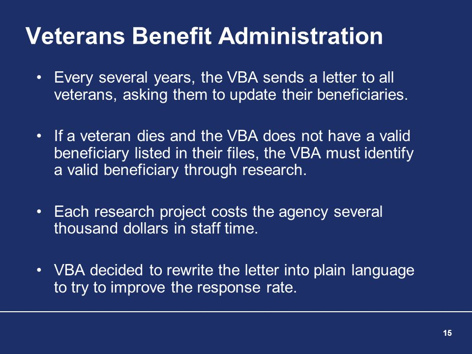 15 Veterans Benefit Administration Every several years, the VBA sends a letter to all veterans, asking them to update their beneficiaries. If a vetera