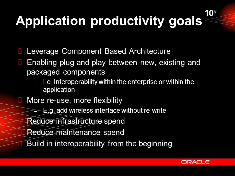 Application productivity goals  Leverage Component Based Architecture  Enabling plug and play between new, existing and packaged components – I.e. I