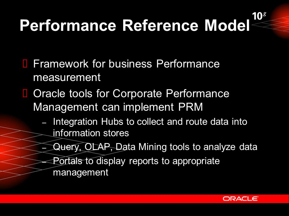 Performance Reference Model  Framework for business Performance measurement  Oracle tools for Corporate Performance Management can implement PRM – Integration Hubs to collect and route data into information stores – Query, OLAP, Data Mining tools to analyze data – Portals to display reports to appropriate management