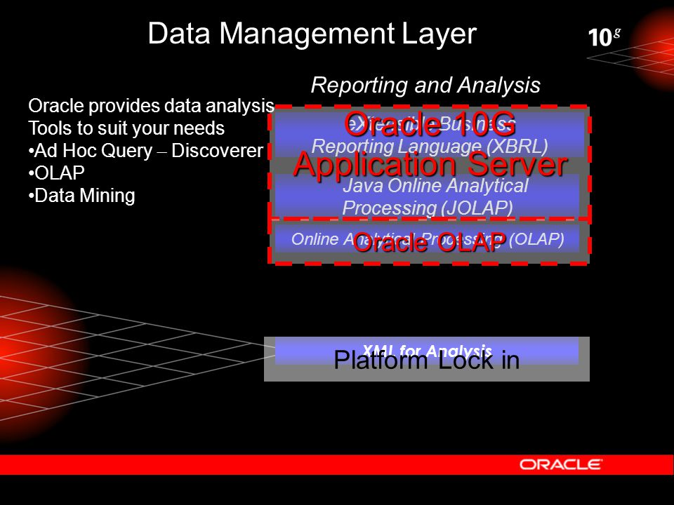 Data Management Layer Java Online Analytical Processing (JOLAP) Online Analytical Processing (OLAP) eXtensible Business Reporting Language (XBRL) XML for Analysis Reporting and Analysis Platform Lock in Oracle 10G Application Server Oracle OLAP Oracle provides data analysis Tools to suit your needs Ad Hoc Query – Discoverer OLAP Data Mining