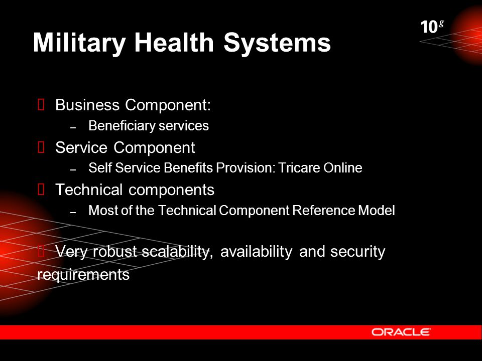 Military Health Systems  Business Component: – Beneficiary services  Service Component – Self Service Benefits Provision: Tricare Online  Technical components – Most of the Technical Component Reference Model  Very robust scalability, availability and security requirements