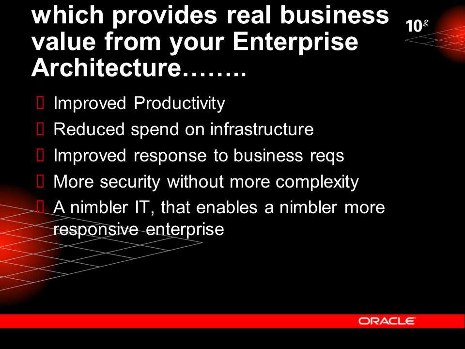 which provides real business value from your Enterprise Architecture……..  Improved Productivity  Reduced spend on infrastructure  Improved response