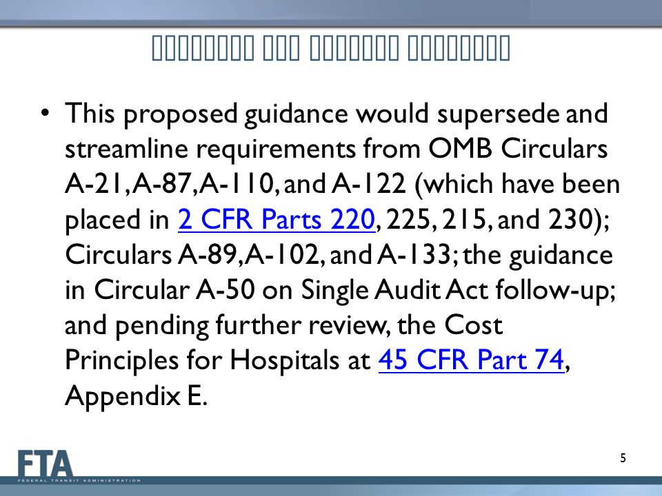 Proposed OMB Uniform Guidance Reform Ideas Discussed in the Advance Notice of Proposed Guidance – Section A: Reforms to Administrative Requirements – Section B: Reforms to Cost Principles – Section C: Reforms to Audit Requirements – Section D: Additional Suggestions Outside of the Scope of This Proposed Guidance 6