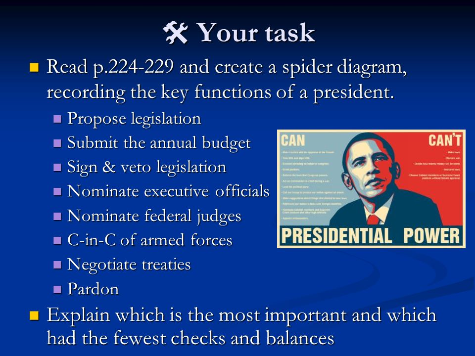  Your task Read p.224-229 and create a spider diagram, recording the key functions of a president. Read p.224-229 and create a spider diagram, record