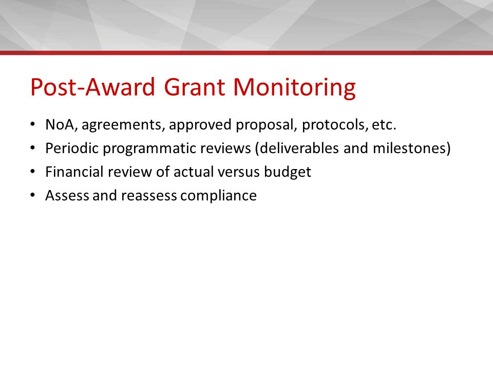 Post-Award Grant Monitoring NoA, agreements, approved proposal, protocols, etc.