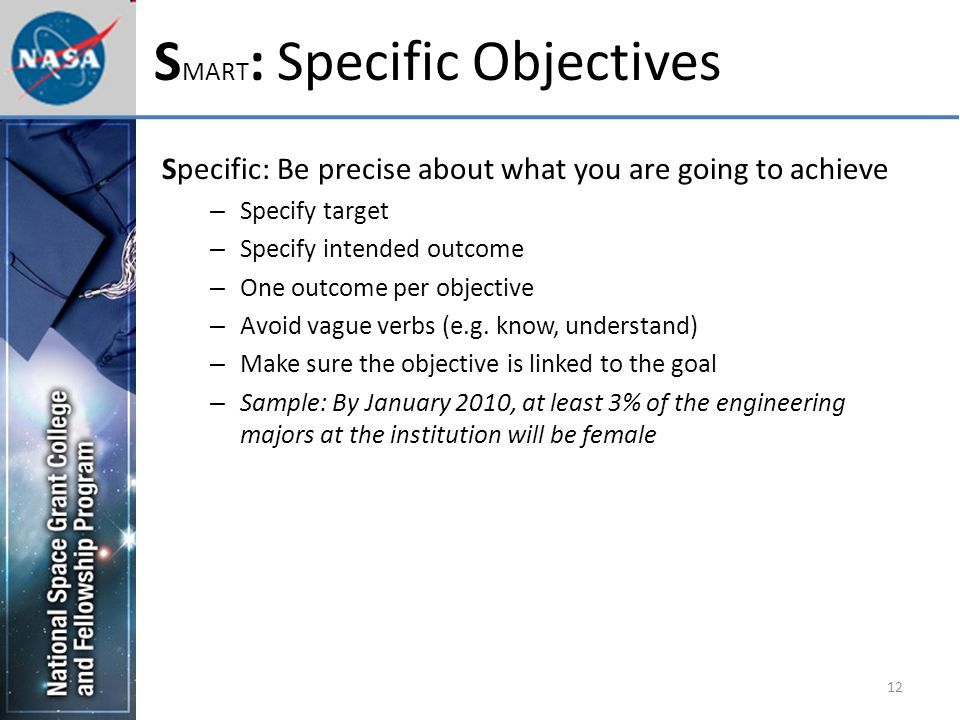 12 S MART : Specific Objectives Specific: Be precise about what you are going to achieve – Specify target – Specify intended outcome – One outcome per objective – Avoid vague verbs (e.g.
