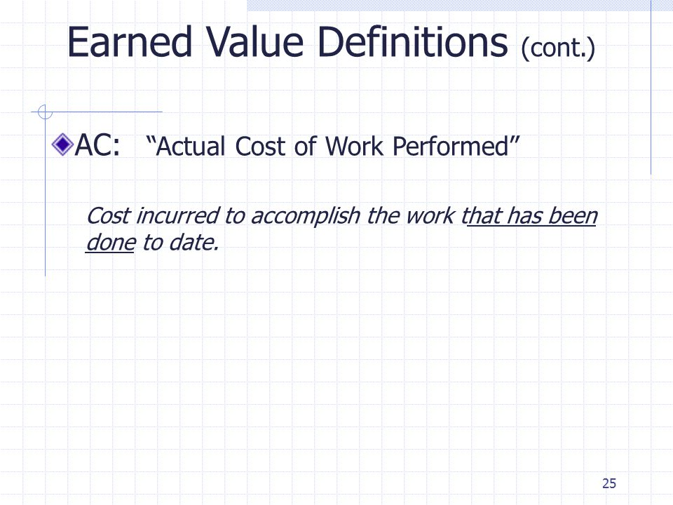 25 Earned Value Definitions (cont.) AC: Actual Cost of Work Performed Cost incurred to accomplish the work that has been done to date.