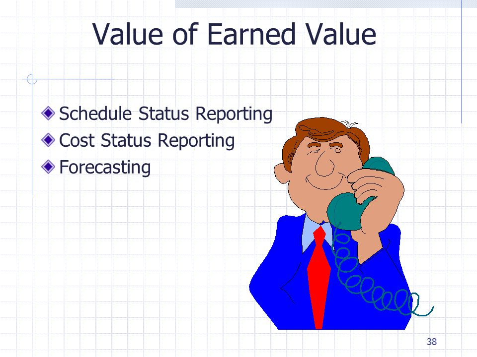 38 Value of Earned Value Schedule Status Reporting Cost Status Reporting Forecasting