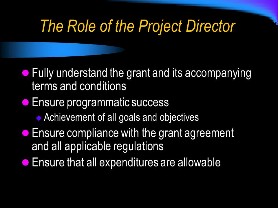Fully understand the grant and its accompanying terms and conditions Ensure programmatic success  Achievement of all goals and objectives Ensure compliance with the grant agreement and all applicable regulations Ensure that all expenditures are allowable The Role of the Project Director