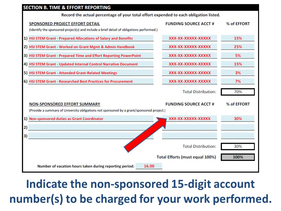 Indicate the non-sponsored 15-digit account number(s) to be charged for your work performed.
