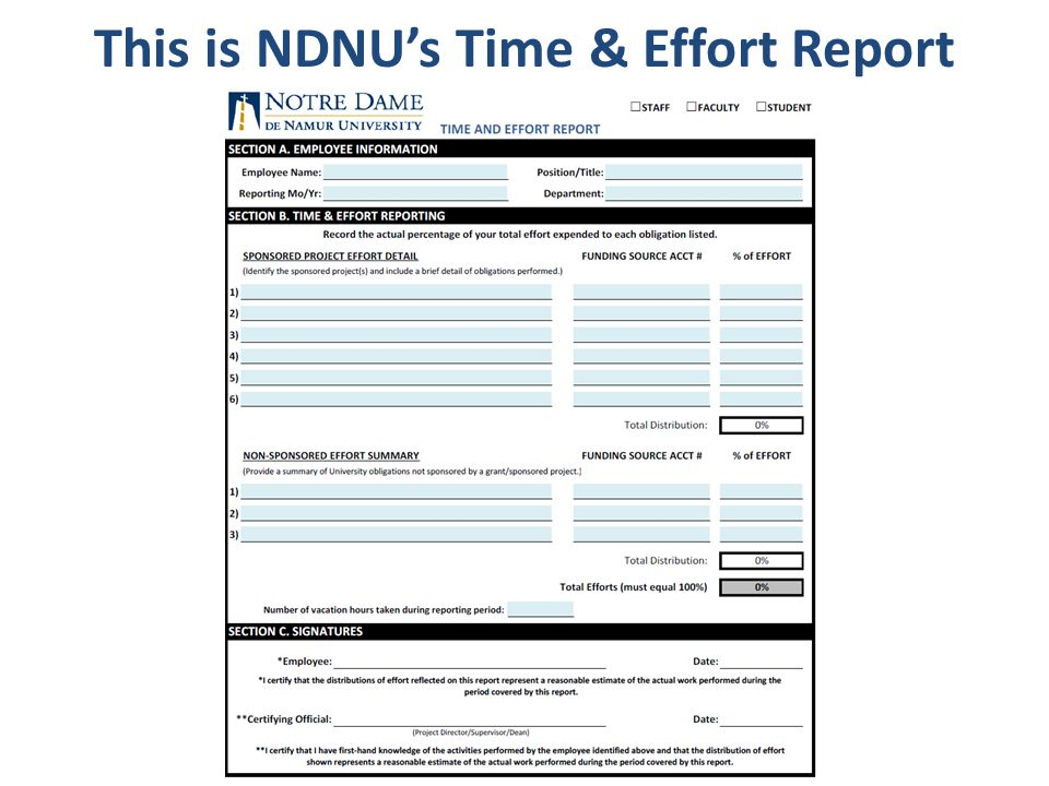This is NDNU's Time & Effort Report