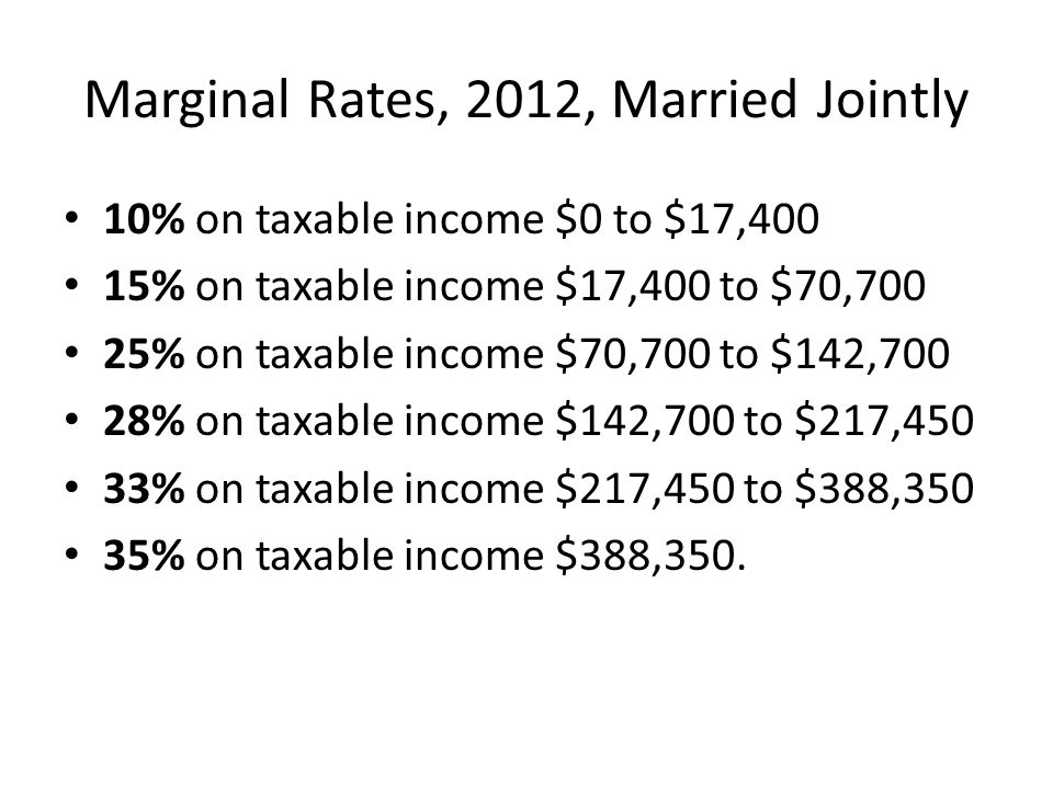 Marginal Rates, 2012, Married Jointly 10% on taxable income $0 to $17,400 15% on taxable income $17,400 to $70,700 25% on taxable income $70,700 to $1