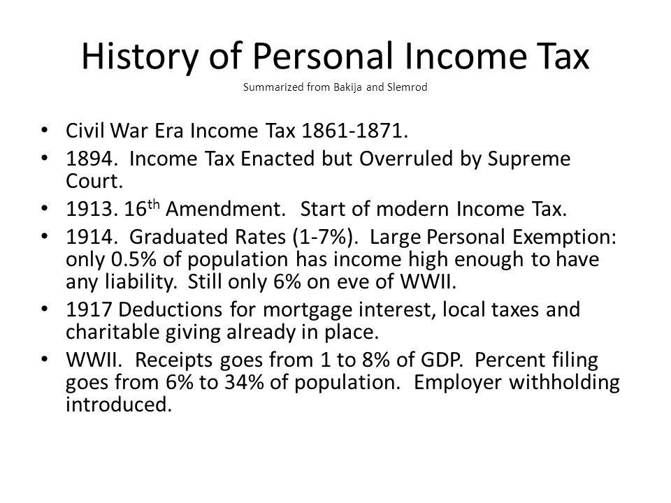 History of Personal Income Tax Summarized from Bakija and Slemrod Civil War Era Income Tax 1861-1871.