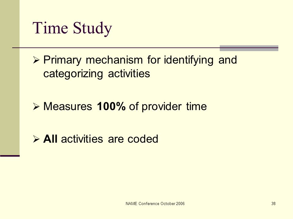 NAME Conference October 200638 Time Study  Primary mechanism for identifying and categorizing activities  Measures 100% of provider time  All activ