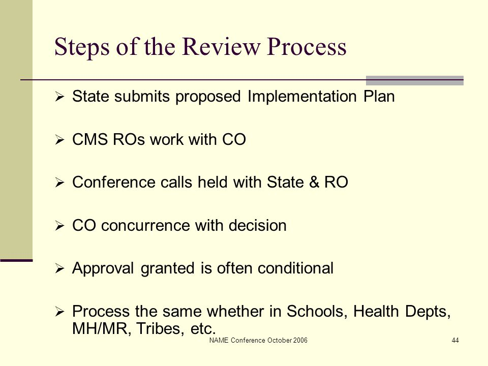 NAME Conference October 200644 Steps of the Review Process  State submits proposed Implementation Plan  CMS ROs work with CO  Conference calls held with State & RO  CO concurrence with decision  Approval granted is often conditional  Process the same whether in Schools, Health Depts, MH/MR, Tribes, etc.