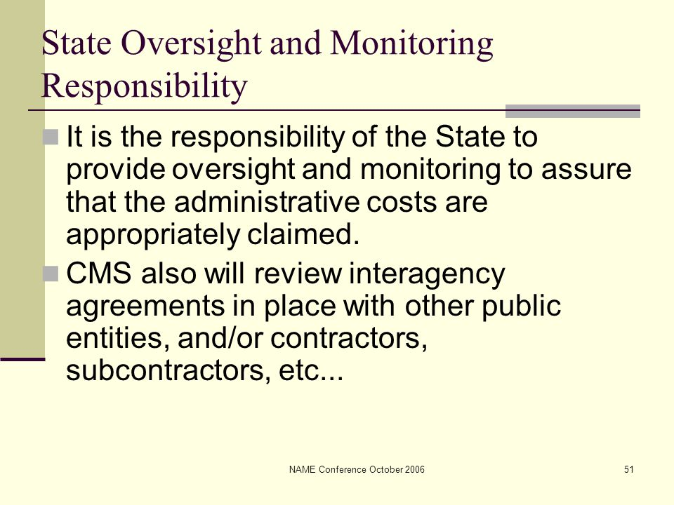 NAME Conference October 200651 State Oversight and Monitoring Responsibility It is the responsibility of the State to provide oversight and monitoring