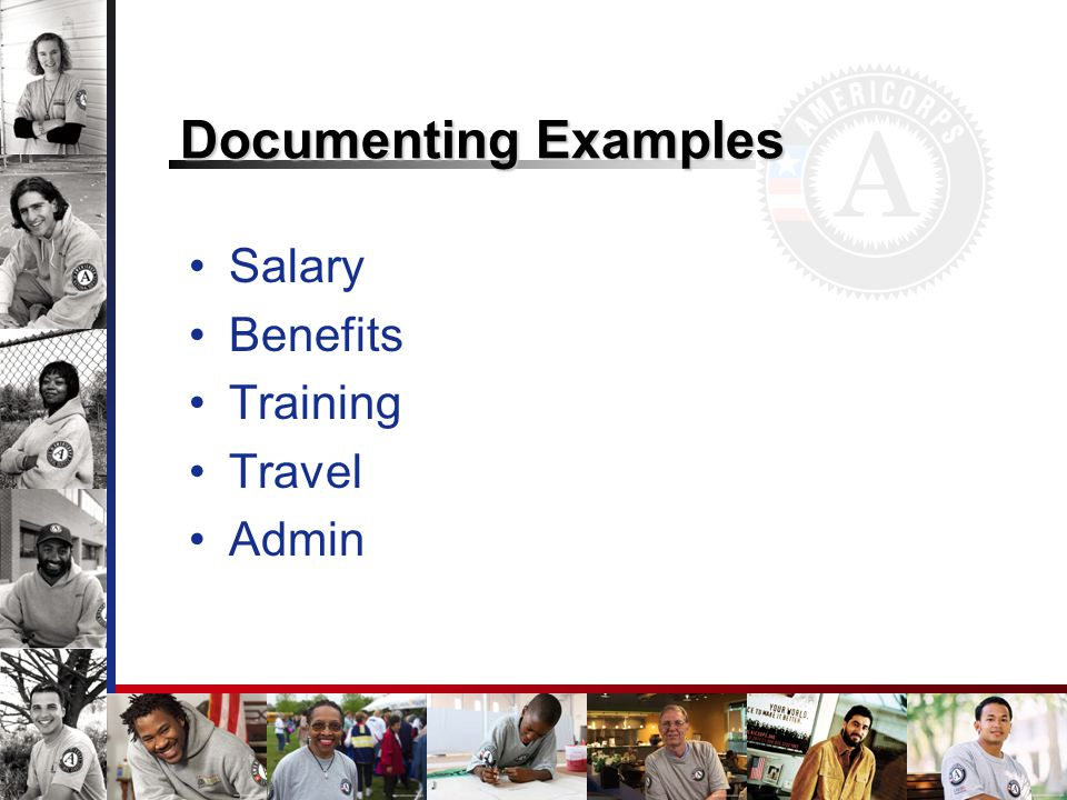 Documenting Examples Salary Benefits Training Travel Admin