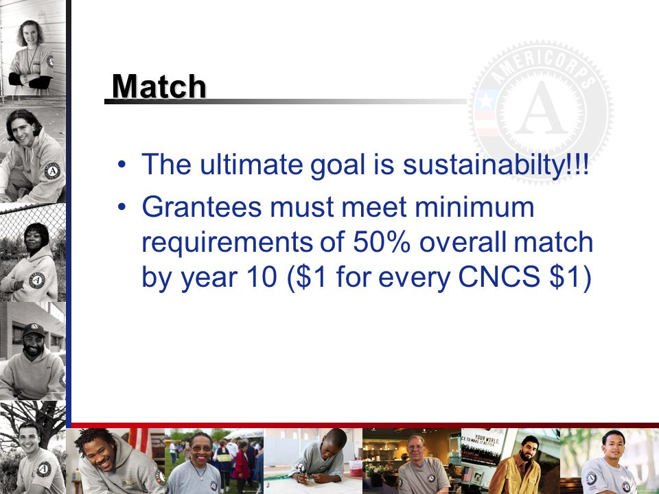 Match The ultimate goal is sustainabilty!!.