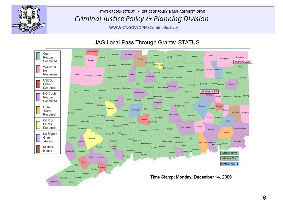 Criminal Justice Policy & Planning Division STATE OF CONNECTICUT OFFICE OF POLICY & MANAGEMENT (OPM) WWW.CT.GOV/OPM/CriminalJustice/ 6