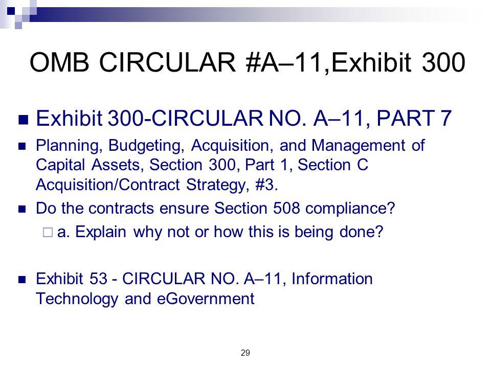 OMB CIRCULAR #A–11,Exhibit 300 Exhibit 300-CIRCULAR NO.