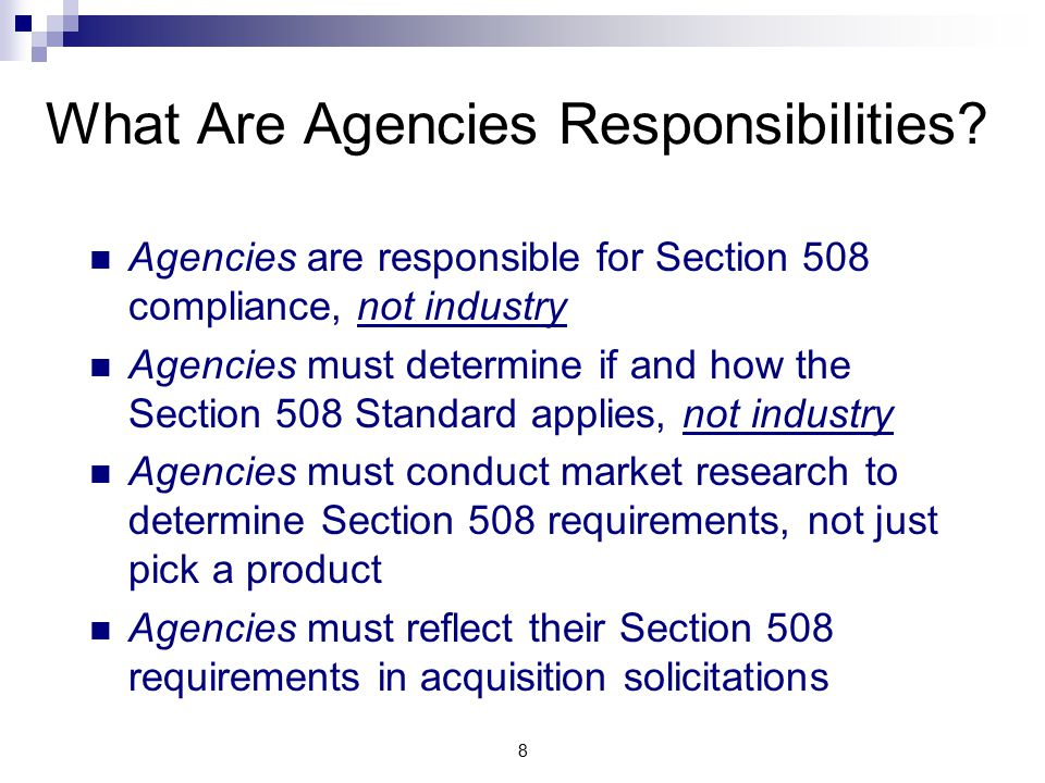 8 What Are Agencies Responsibilities.